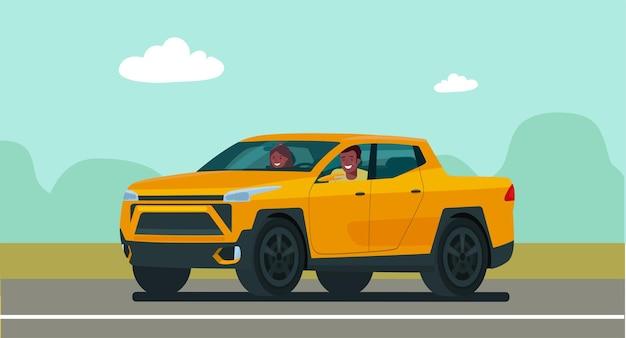 아프리카계 미국인 남자와 여자가 배경에서 운전하는 픽업 트럭 자동차. 벡터 일러스트 레이 션.