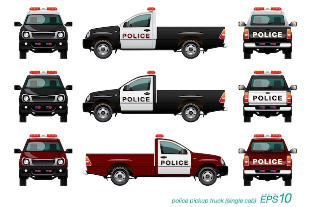 Pickup truck police car with red siren, template isolated on white background.