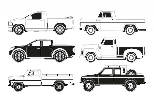 Pickup truck silhouettes. black pictures of various automobiles