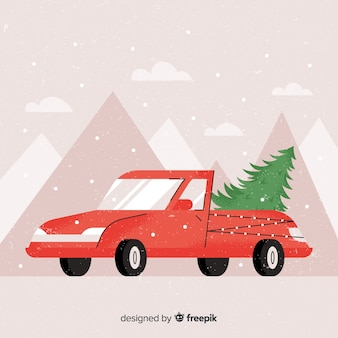 Pickup truck with christmas tree