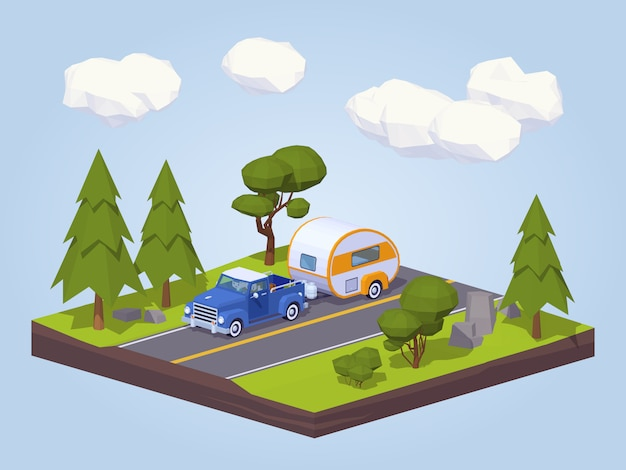 고속도로에서 rv 캠프와 픽업 트럭