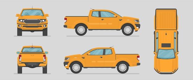 ピックアップトラック。さまざまな側面からの黄色い車。フラットスタイルの漫画の車。