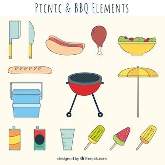 ピクニックやバーベキュー要素コレクション