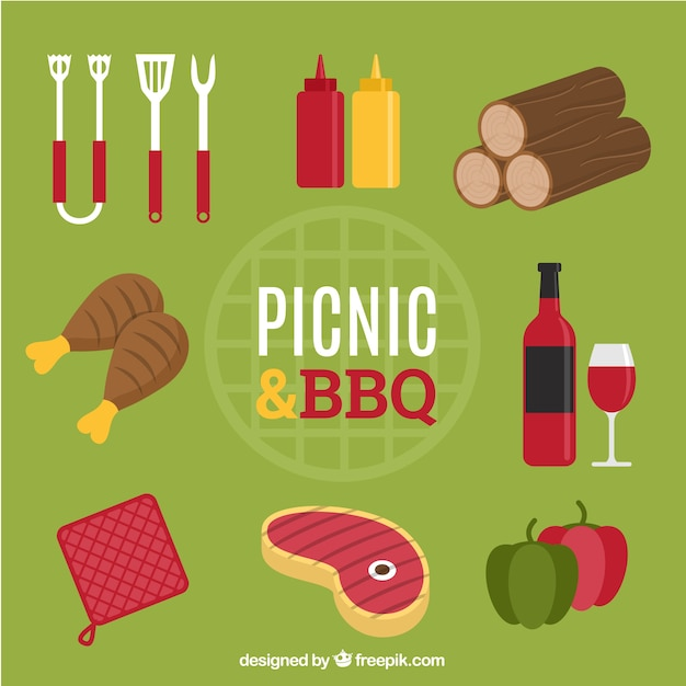 食物と一緒にピクニックやバーベキューの要素