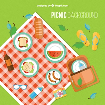Picnic background in flat design with elements