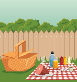 Picnic and barbecue at backyard with fence