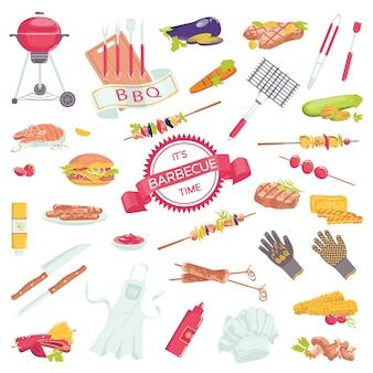 ステーキ、グリルソーセージ、サーモン、フォークコレクションのイラストがバーベキュー肉アクセサリーアイコンのピクニックバーベキューグリル食品セット。