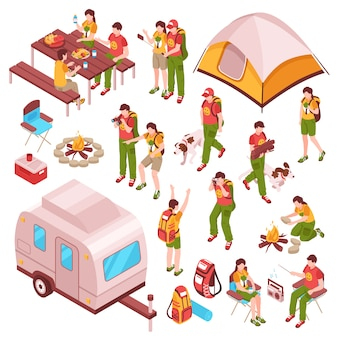Picnic barbecue isometric characters