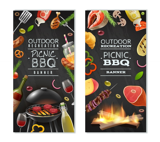 Banner verticale di barbecue pic-nic