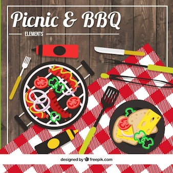 Picnic and barbeque outside