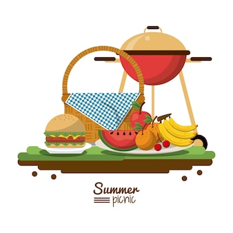 Picnic basket and charcoal grill and fruits and burger