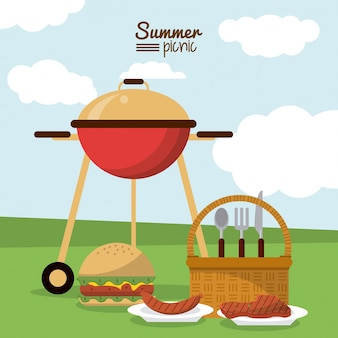 Picnic basket and charcoal grill sausage meat and burger
