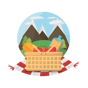 Picnic basket food blanket mountains label