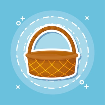 Picnic basket icon over blue background, colorful design. vector illustration