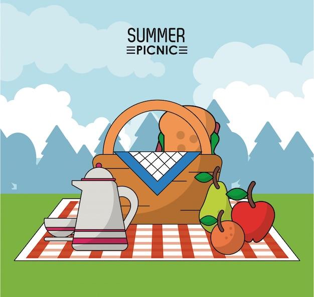 テーブルクロス、ピクニックバスケット、コーヒー瓶、果物、サンドイッチ
