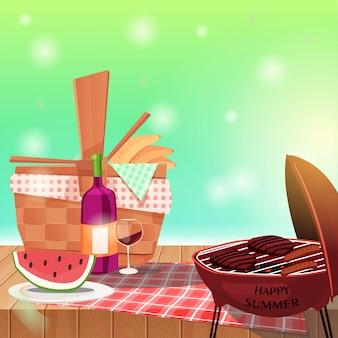 Picnic basket on table and spring landscape