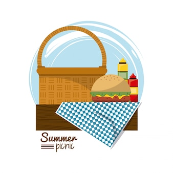 Picnic basket on tablecloth with burger and sauces