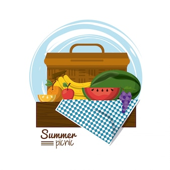 Picnic basket on tablecloth with tropical fruits