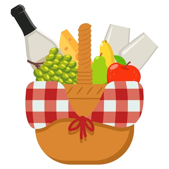 Picnic basket vector cartoon illustration isolated on a white background.
