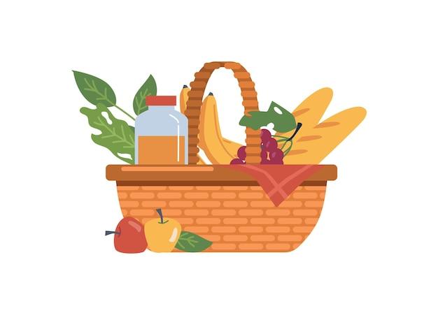 食べ物や飲み物の新鮮な果物のピクニックバスケット