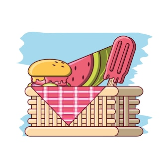 Picnic basket with food and fruit