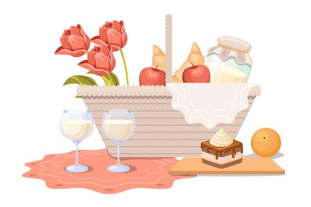 バラの花とミルクジャーのピクニックバスケット、白い背景で隔離の屋外の夏のレクリエーションのためのクロワッサン、リンゴとケーキの食べ物で妨げます。伝統的な籐の箱。漫画のベクトル図