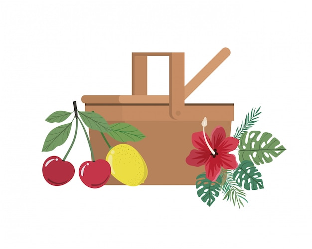 Picnic basket with tropical fruits on white
