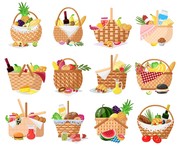 Picnic baskets isolated on white