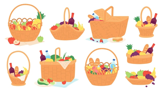ピクニックバスケット。枝編み細工品は、屋外での食事のために毛布の上に食べ物とワインボトルを置いています。果物やスナックのベクトルセットと漫画のギフトバスケット。夏のピクニックにバスケットのイラストボトルと食べ物