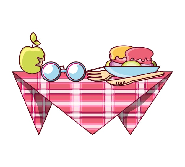 Picnic blanket with food and glasses