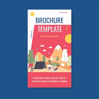 Picnic and camping outdoors brochure template