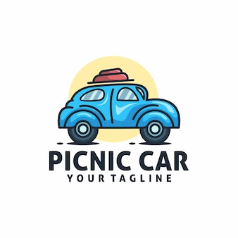 Picnic car logo template vector