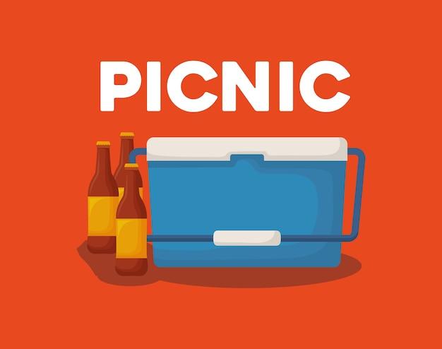 ピクニッククーラーとビールボトル