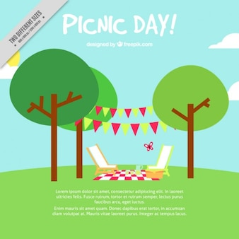 Picnic day background in flat design