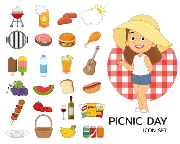 ピクニックの日の要素とイラスト