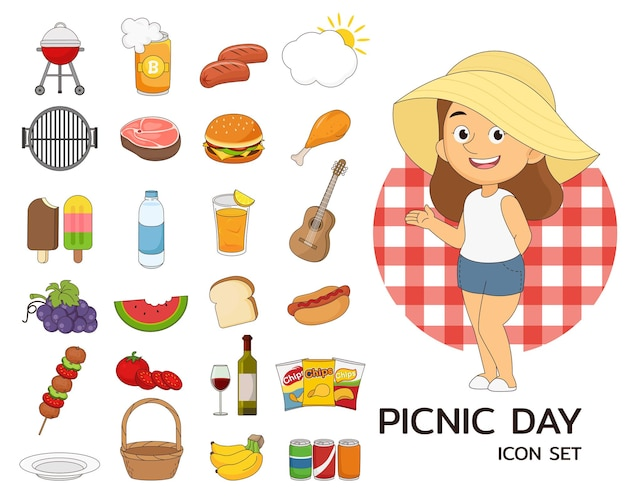 Picnic day elements and illustration