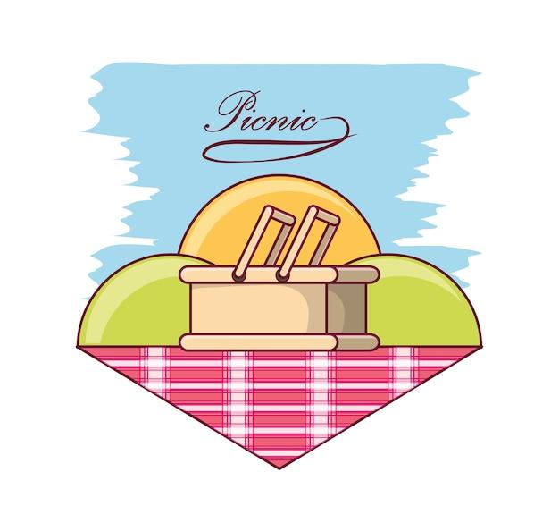 ピクニック・ブランケットのバスケット付きのピクニック・デザイン