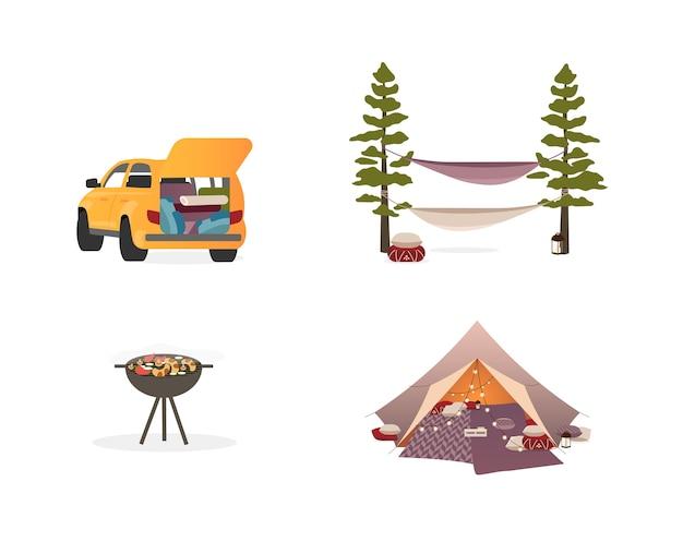 피크닉 장비 평면 색상 개체를 설정합니다. 조명과 캠핑 텐트. 해먹. 차. 바베큐 그릴. 격리 된 만화