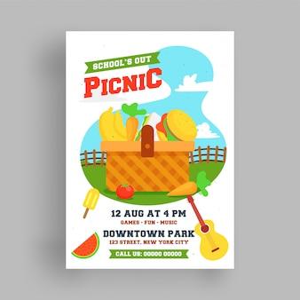 ピクニックチラシまたはポスターテンプレート。