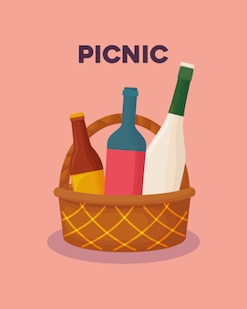Picnic food design with basket with drinks