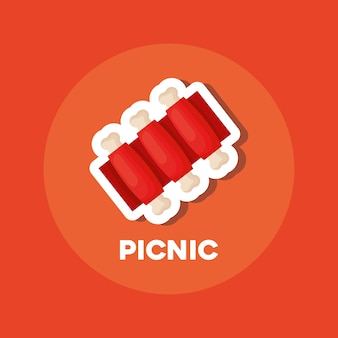 Picnic food design with bbq ribs