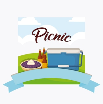 Picnic food emblem with food