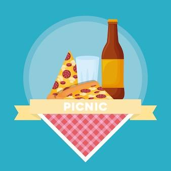 ピザとビールのボトル付きピクニックフードエンブレム