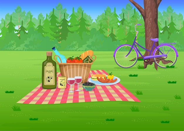 Picnic food on grass in park cartoon illustration. straw basket with olives, wine, sausages on blanket