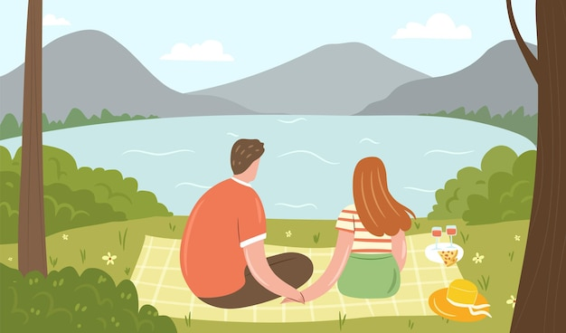 Picnic in forest happy couple on a blanket among trees looking at the mountains and lake scenery