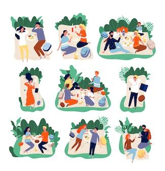 피크닉 친구. 공원 건강한 행복한 가족 야외 문자 삽화에서 먹는 사람들