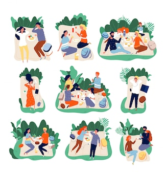 Picnic friends. people eating in park healthy happy family outdoor  characters illustrations