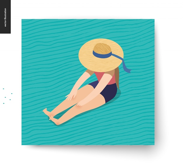 Picnic image - flat cartoon vector illustration of girl sitting on the floor with a ribbon beach hat on hiding her face