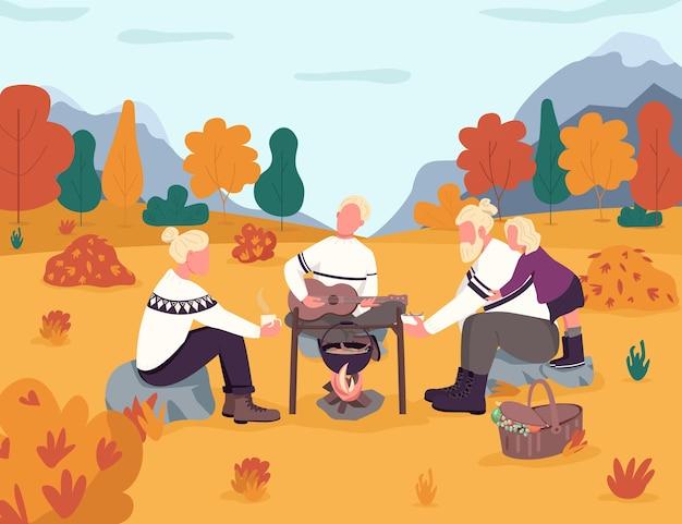 秋の田園地帯でのピクニックセミフラット。秋の森。季節の森での休日。鍋で食べ物を調理し、ギターのレクリエーションをします。商用利用のための親戚の2d漫画のキャラクター