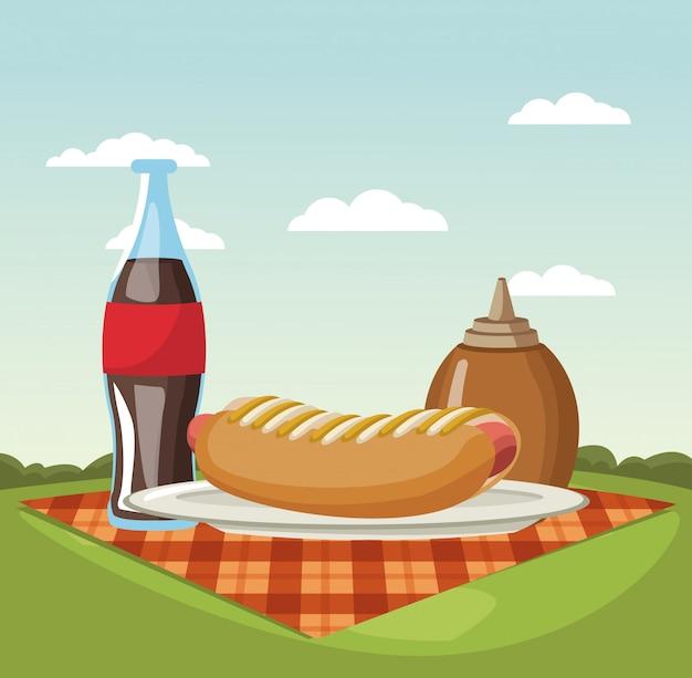 Пикник в парке векторных иллюстраций графический дизайн